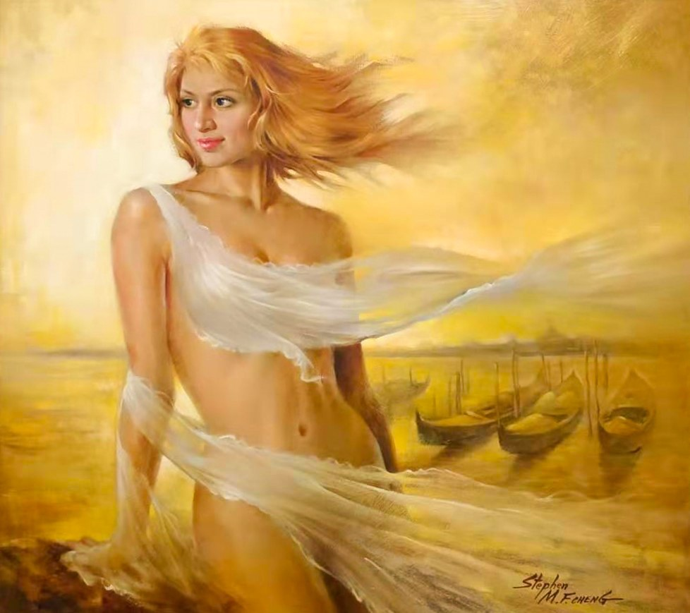 Stephen Man-Fai Cheng Gone with the Wind Original Oil Painting 27x30