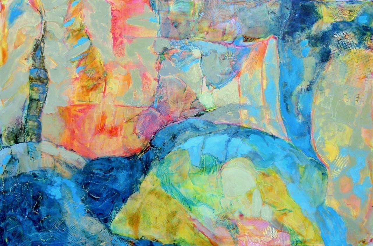 Finding Blue Abstract Acrylic Painting 24x36 Christine Reimer