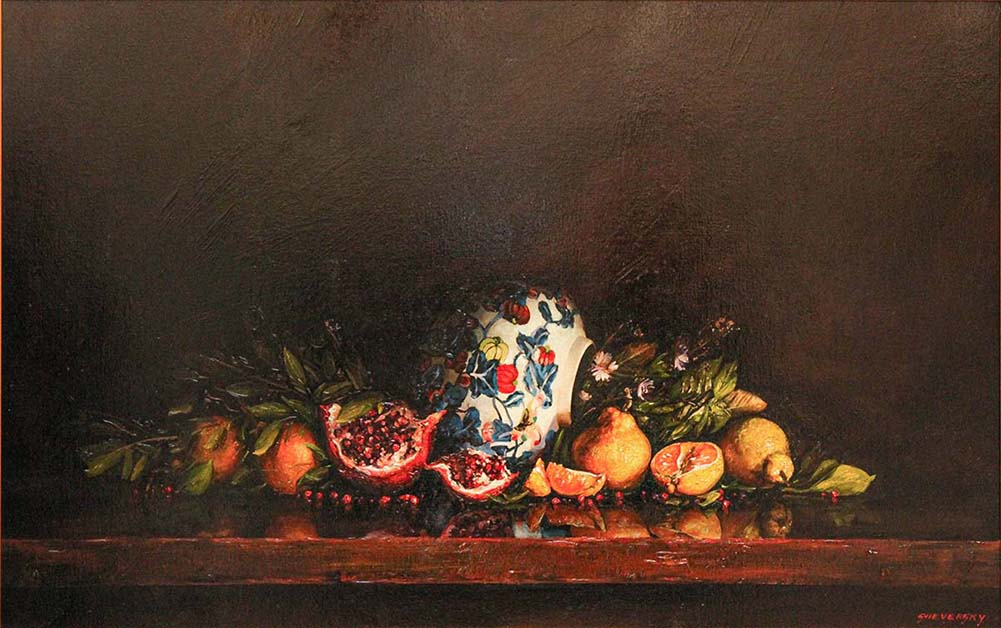Chinese Vase Oil Painting 28x44 by Contemporary Canadian Painter Alexander Sheversky