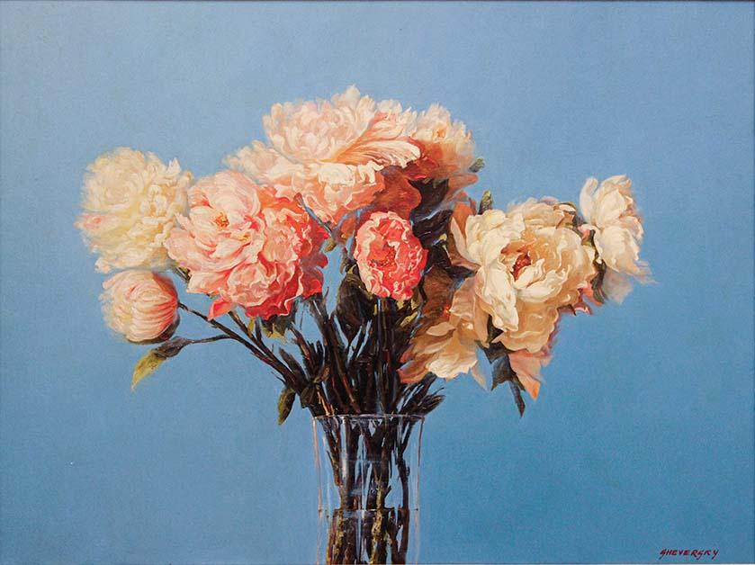 Contemporary Canadian Painter Alexander Sheversky Peonies Original Oil Painting 30x40