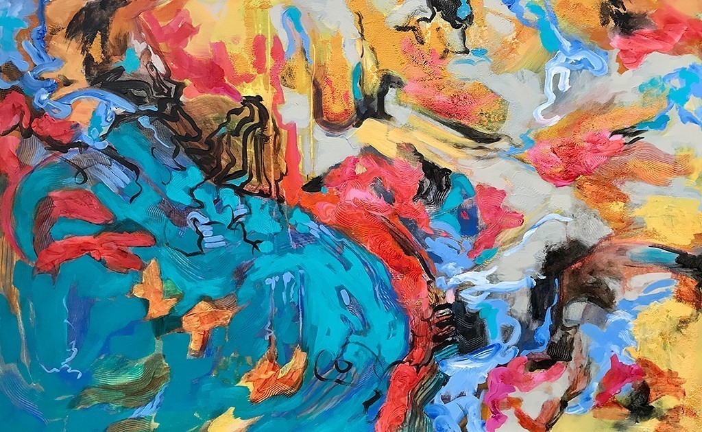 Mystic Landfall Ⅱ Abstract Acrylic Painting 30x48 by Christine Reimer
