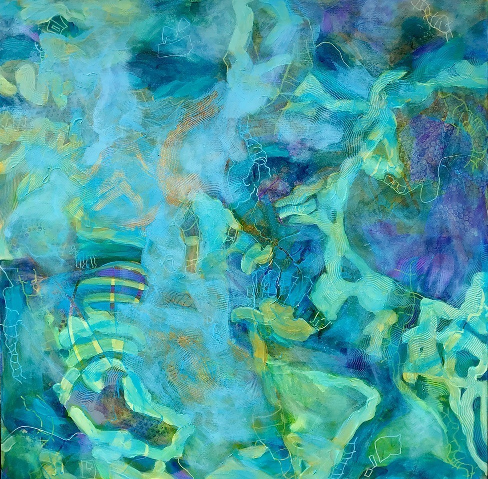 Snakes And Ladders Abstract Painting 36x36 Christine Reimer