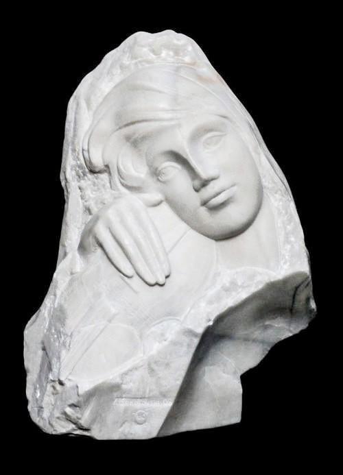 Valeri Sokolovsk Melody Italian Carrara Marble Sculpture 21in