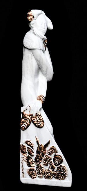 "Valeri Sokolovski Circus Italian Carrara Marble Sculpture 28"""