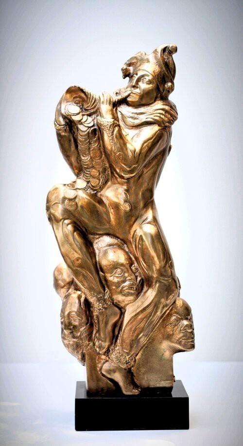 Valeri Sokolovski Never Enough Bronze on Black Granite Base Sculpture_25