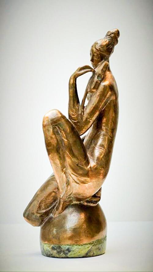 Valeri Sokolovski Violinist Bronze on Marble Base Sculpture 20