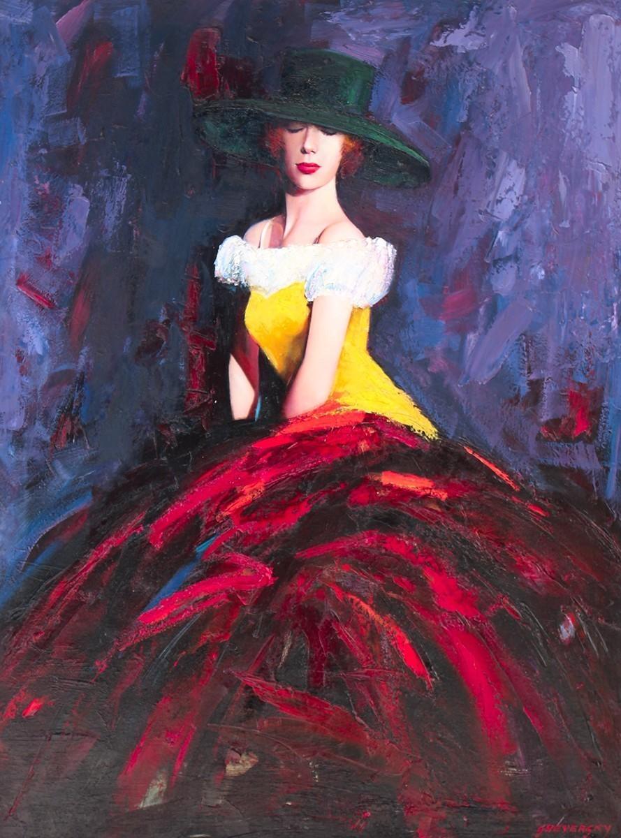Alexander Sheversky- Lady in Red-Original Oil-40x30