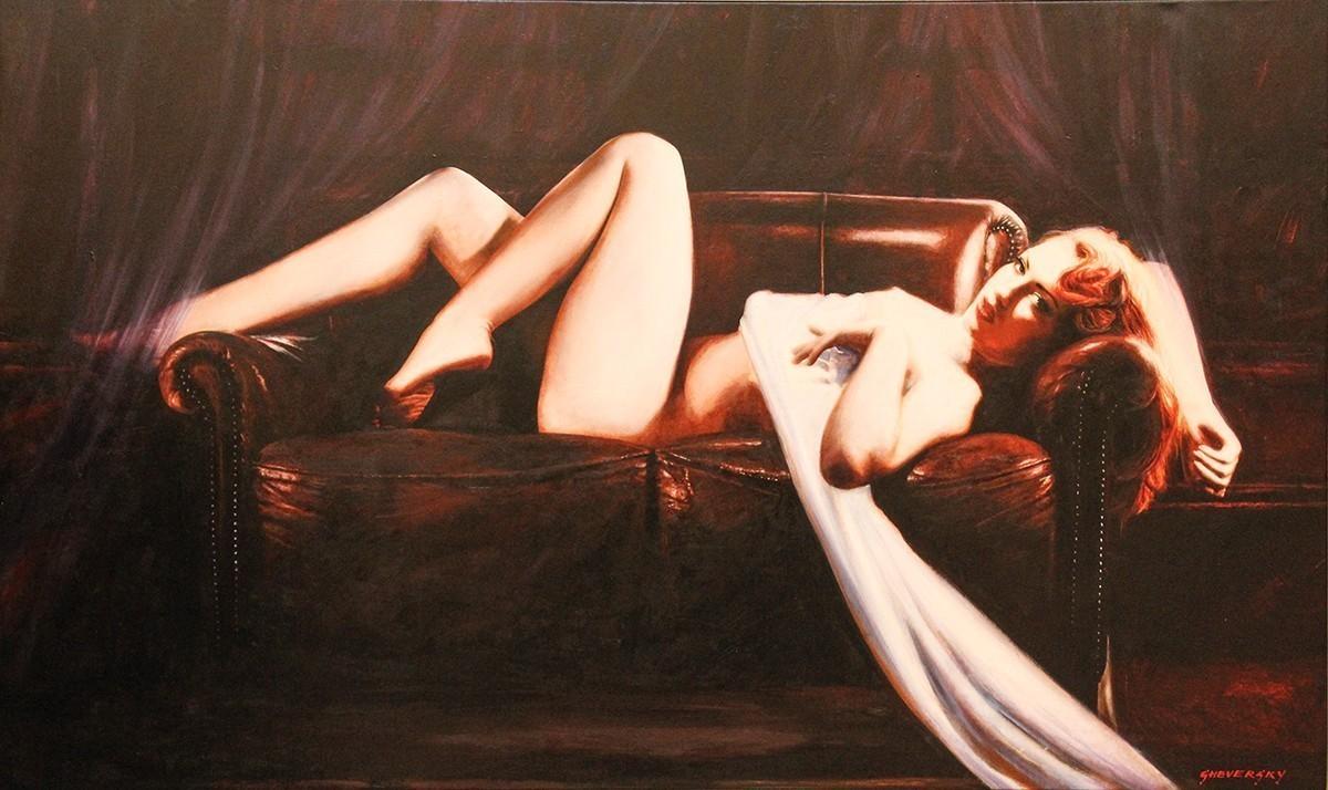 Alexander Sheversky Seductive Nude Oil Painting 36x60