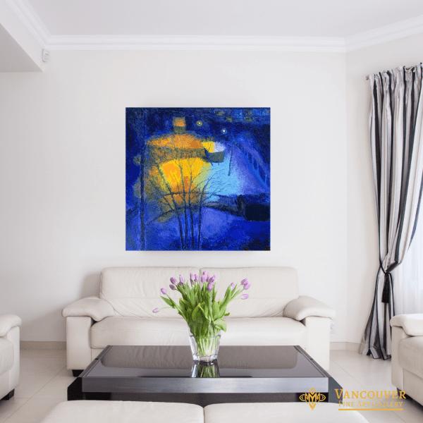 Anastasia Fedorova At Night Original Oil Painting 28x28 on the Livingroom Wall