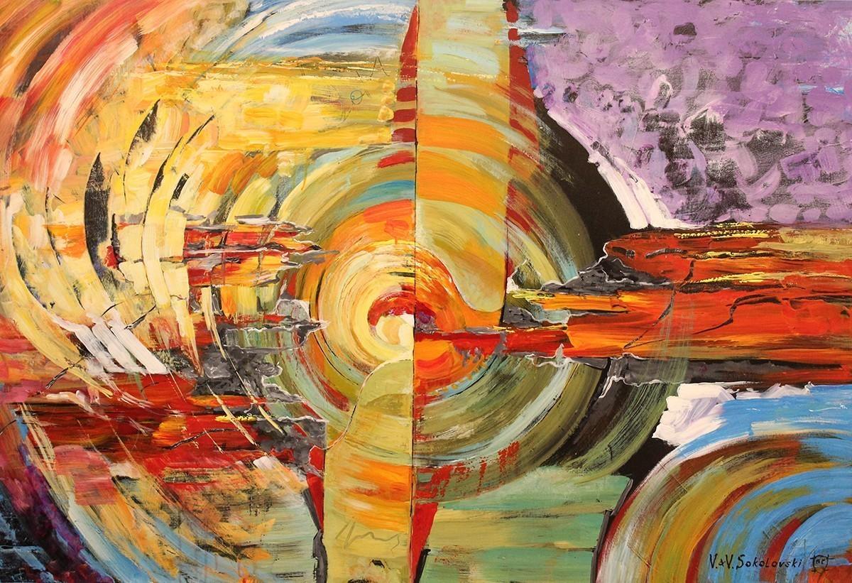 Day And Night acrylic painting Valeri Sokolovsk 40x60