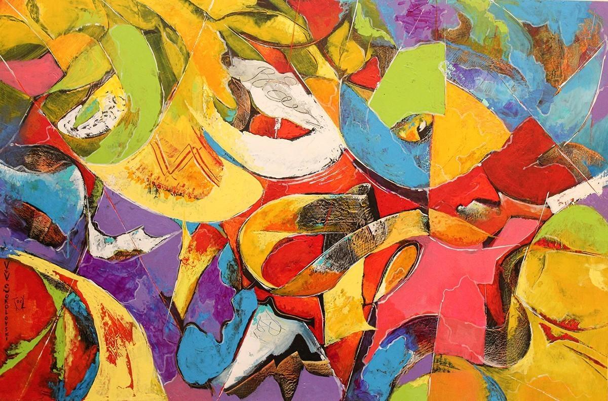 Garden abstract acrylic painting 40x60 Valeri Sokolovsk