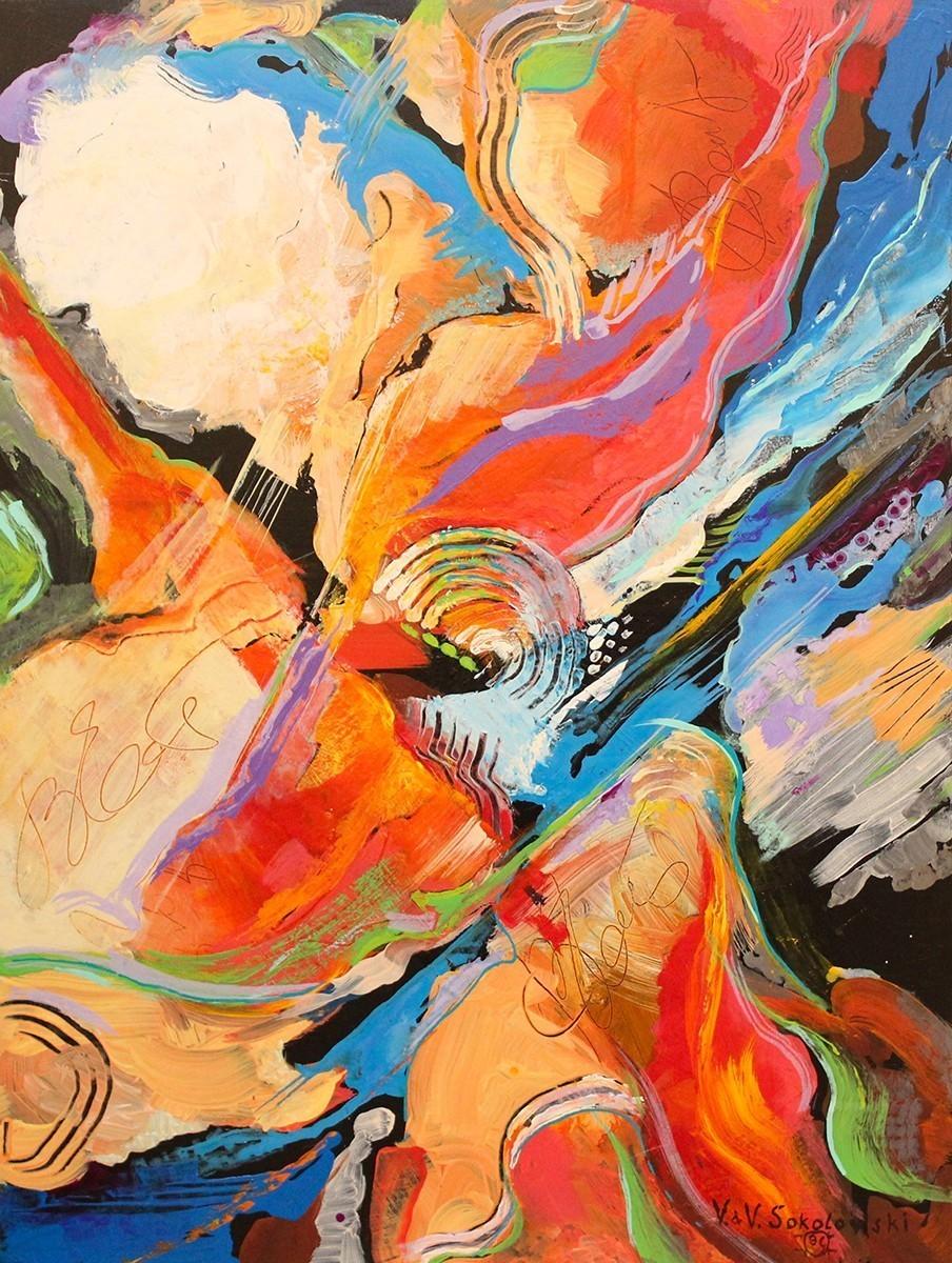 Valeri Sokolovski Green Rush Acrylic Painting 48x36