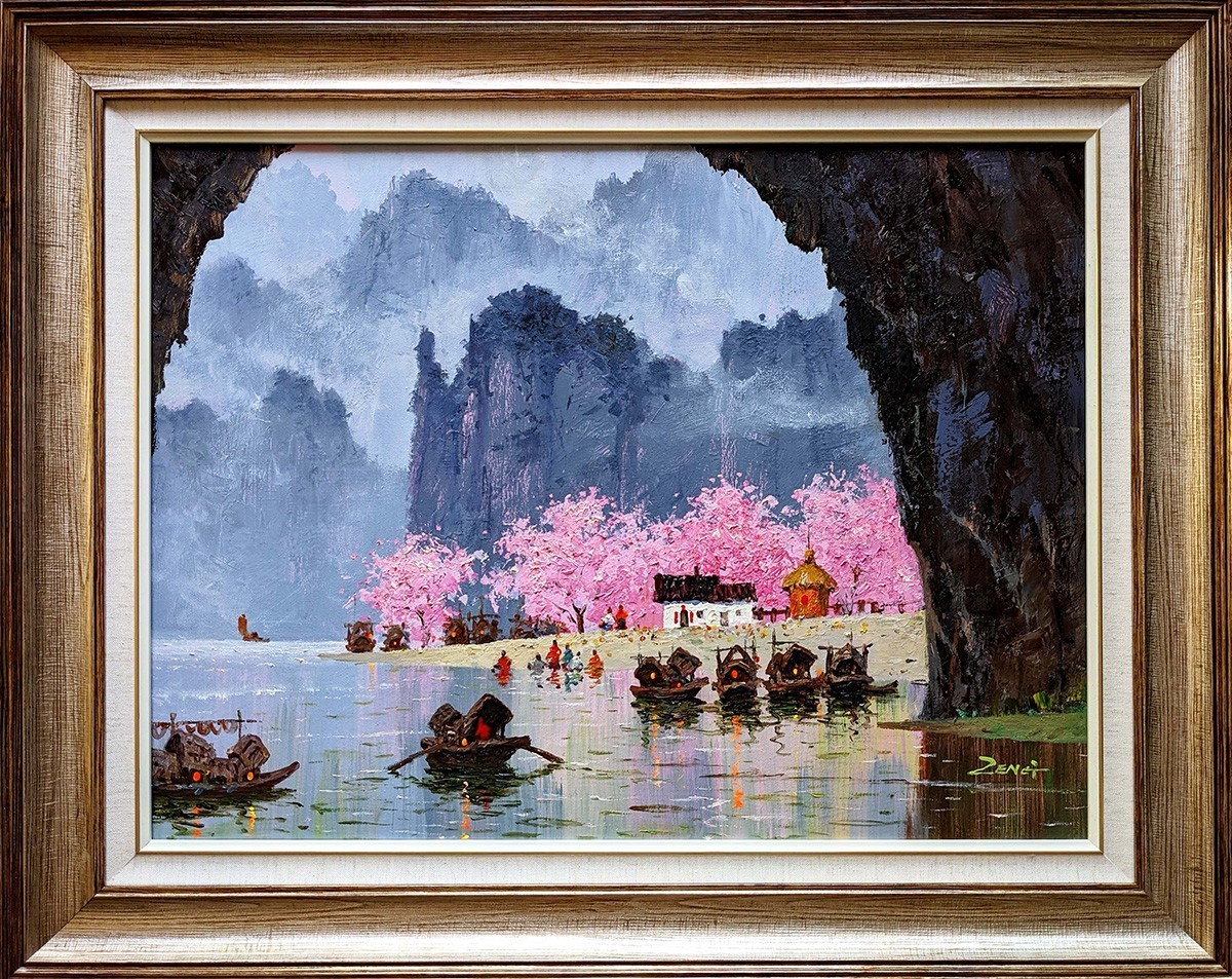 Peach Blossom Cave -Oil Painting-24x18- Contemporary Artist Uncle Zeng