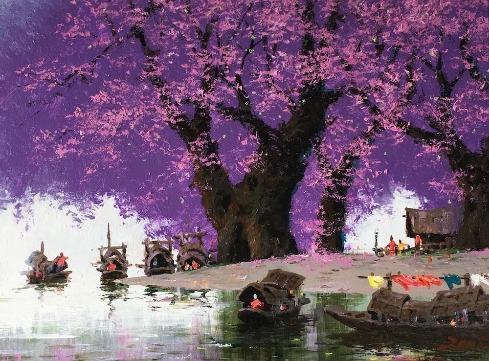 Uncle Zeng Purple Ferry Original Oil on Canvas 18x24