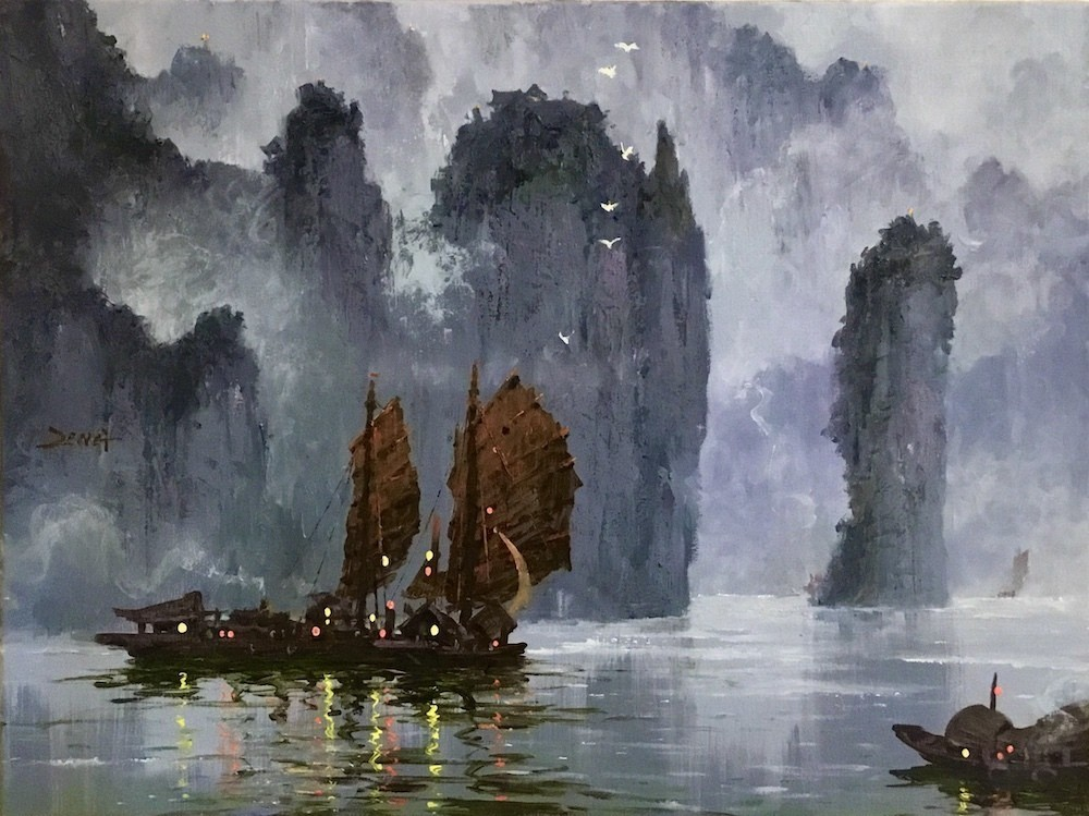 Uncle Zeng Sails in an Old Gorge Original Oil_24x18