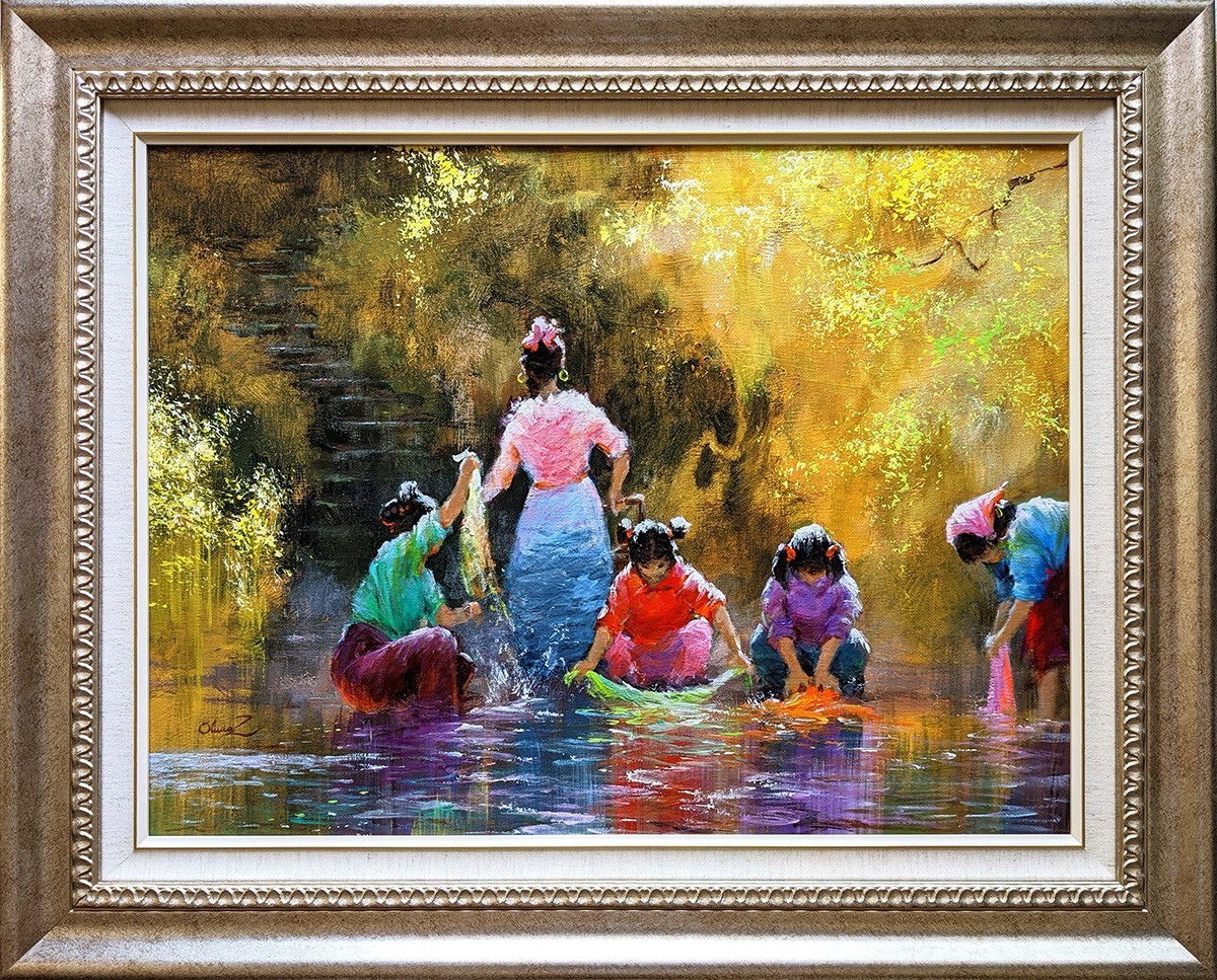 Washing After the Harvest -Oil - 24x18 -Olivia Zeng