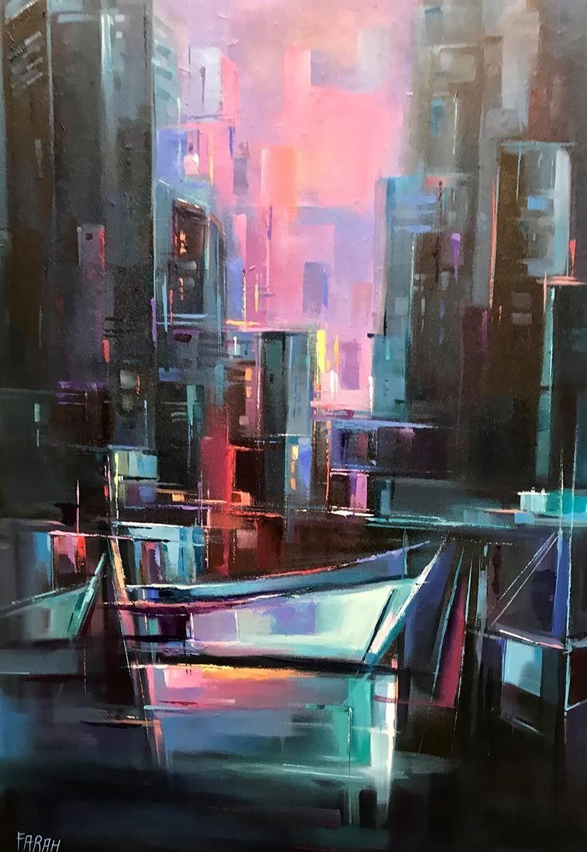 Cityscape painting by Farahnaz Samari, City Night, Vancouver city night view.