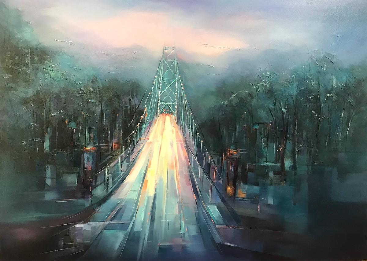 Cityscape painting by artist Farahnaz Samari, Infinity-Original Oil 36x48, Capture Vancouver Lions Gate bridge view.