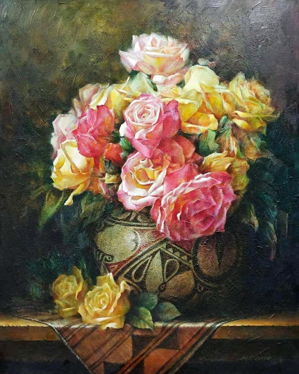 Stephen Man-Fai Cheng-Peaceful Moment-Original Oil-30x24-Pink and Yellow Roses in A Vase