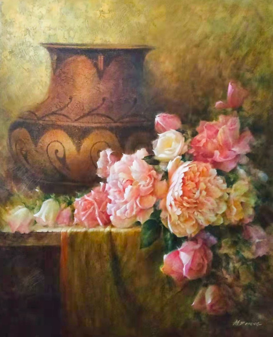 Stephen Man-Fai Cheng-Quiet Moment-Original Oil Painting-30x24 Vase With Pink Peony Flowers