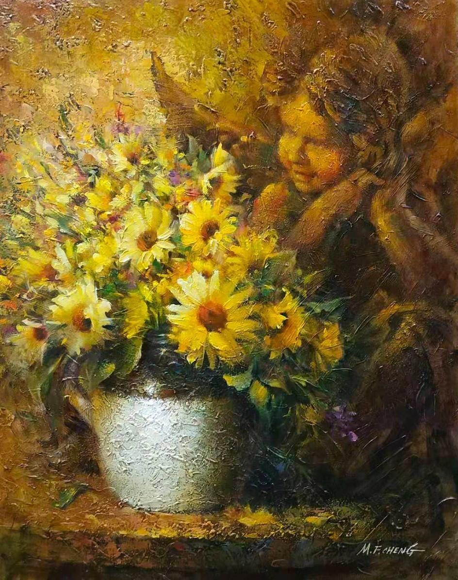 Stephen Man-Fai Cheng-Time Pass-Original-Oil Painting-30x24 Chrysanthemum in a Vase with Angel