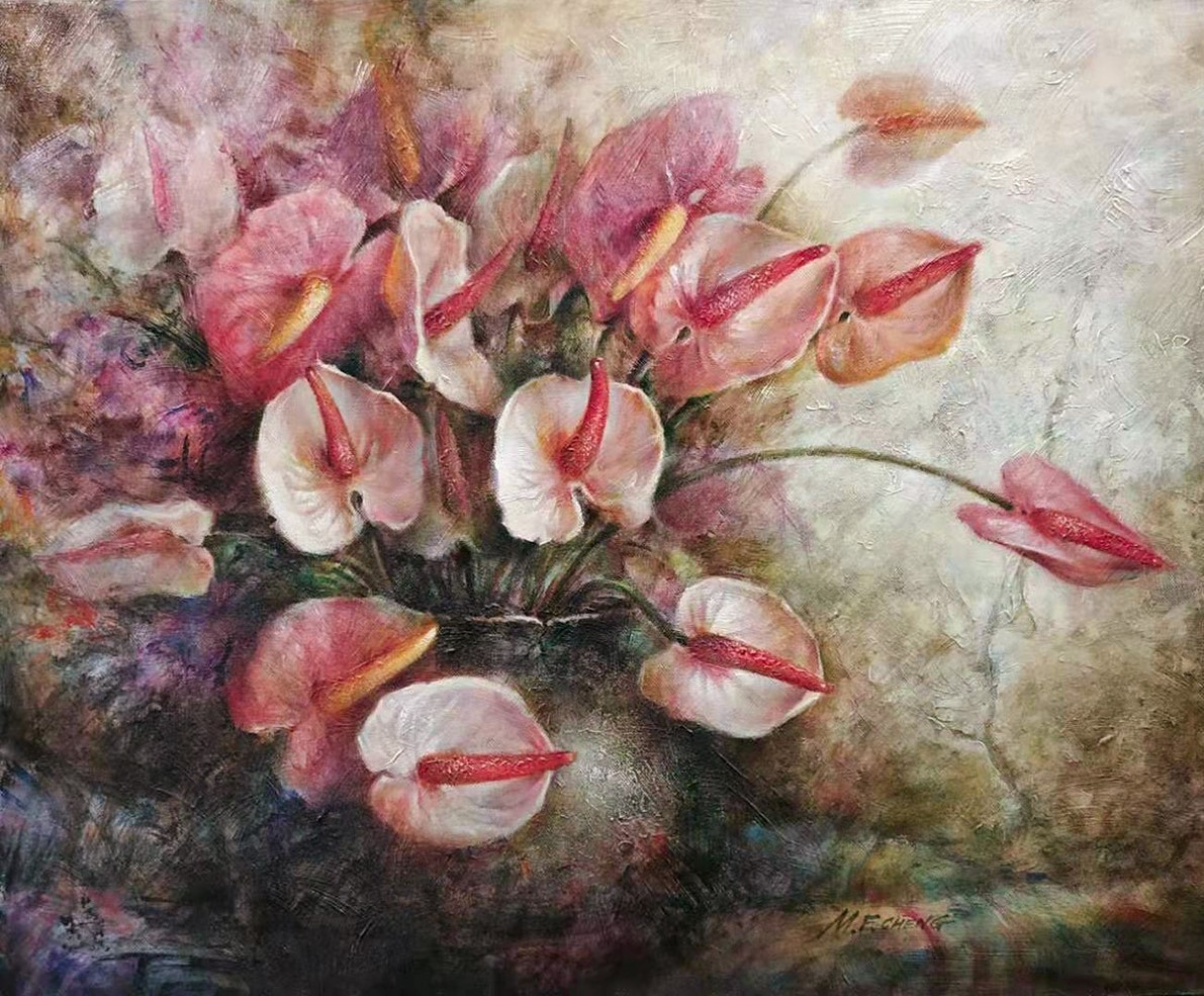 Stephen Man-Fai Cheng-Time Will Tell-Original Oil Painting-20x24 Anthurium Flowers in a Vase