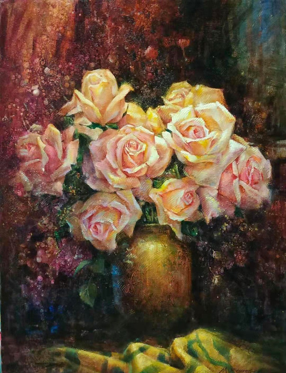 Stephen Man-Fai Cheng-Warm Light-Original Oil Painting-24x18 Pink Roses in A Vase