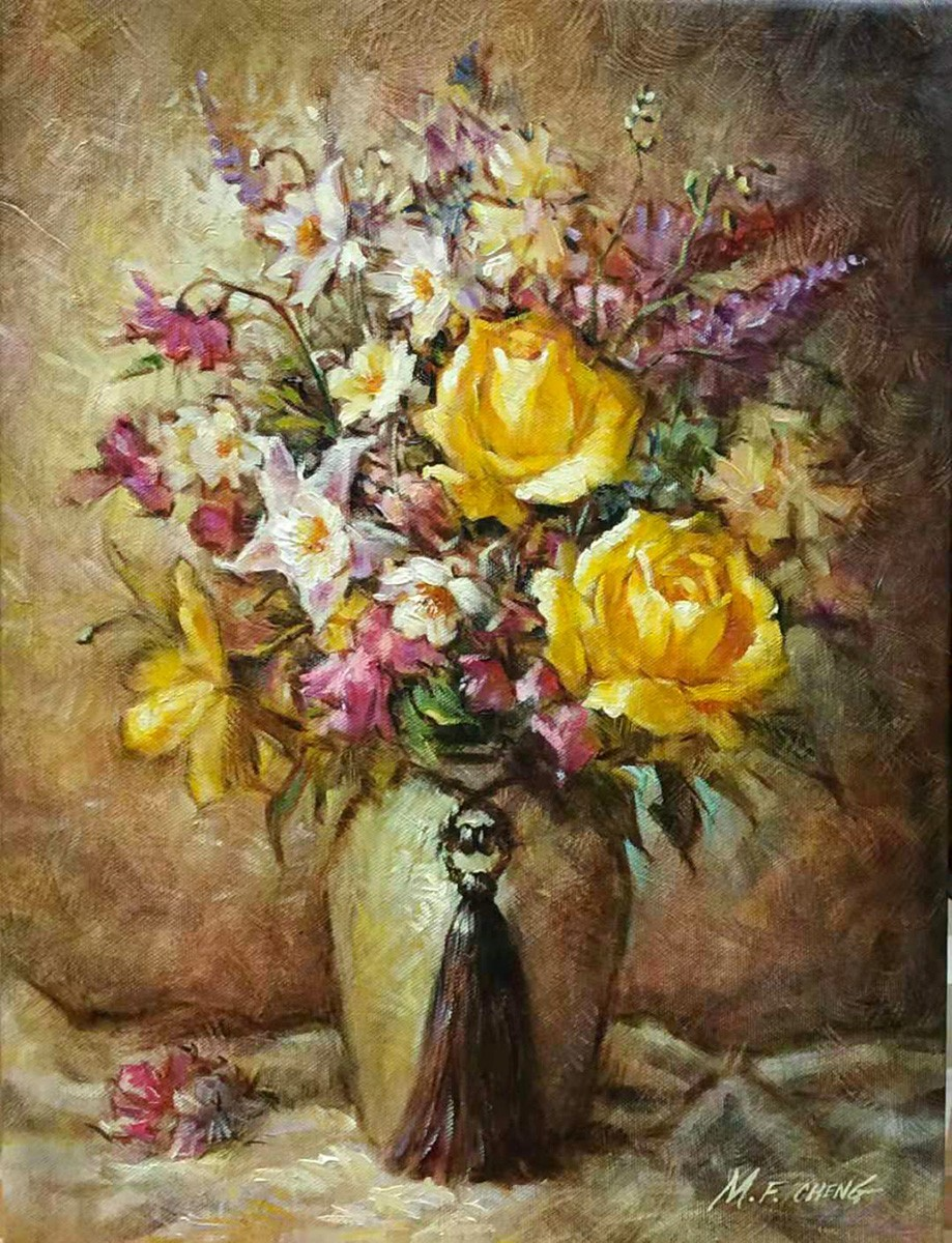 Stephen Man-Fai Cheng-Yellow Roses-Original Oil Painting-16x12 Yellow Roses, Chrysanthemums & Pink flowers in a Vase