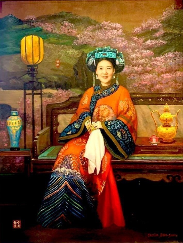 Portrait Painting. Title: Manchurian Lady, Original Oil-45x35 inches by Canadian artist Cecilia Aisin-Gioro.