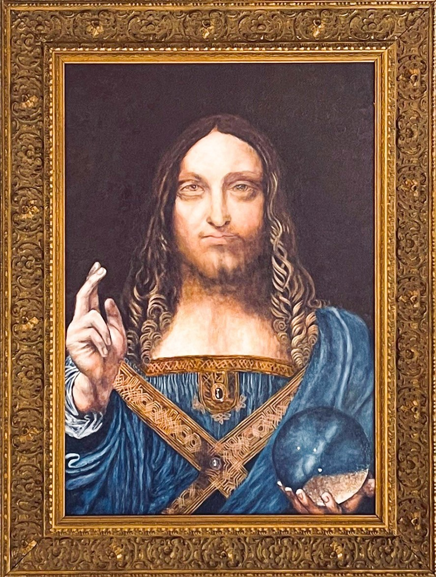 Replica Painting. Title: Salvator Mundi 1500 - Leonardo Da Vinci 26x17.75 inches by Cosimo Geracitano.
