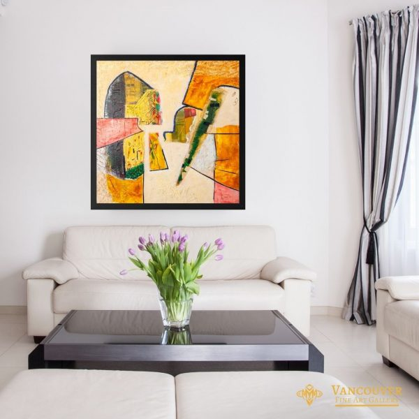 Abstract art. Title: Crispy Edges, acrylic on wood panel, 36 x 36 in by Contemporary Canadian Artist David Hovan.