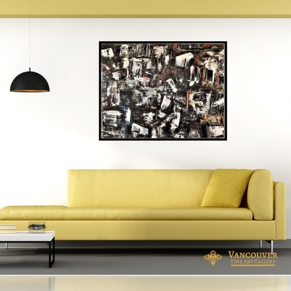Abstract Art. Title: In the Space of Time, original acrylic, 48x36 in by Contemporary Canadian Artist David Hovan.
