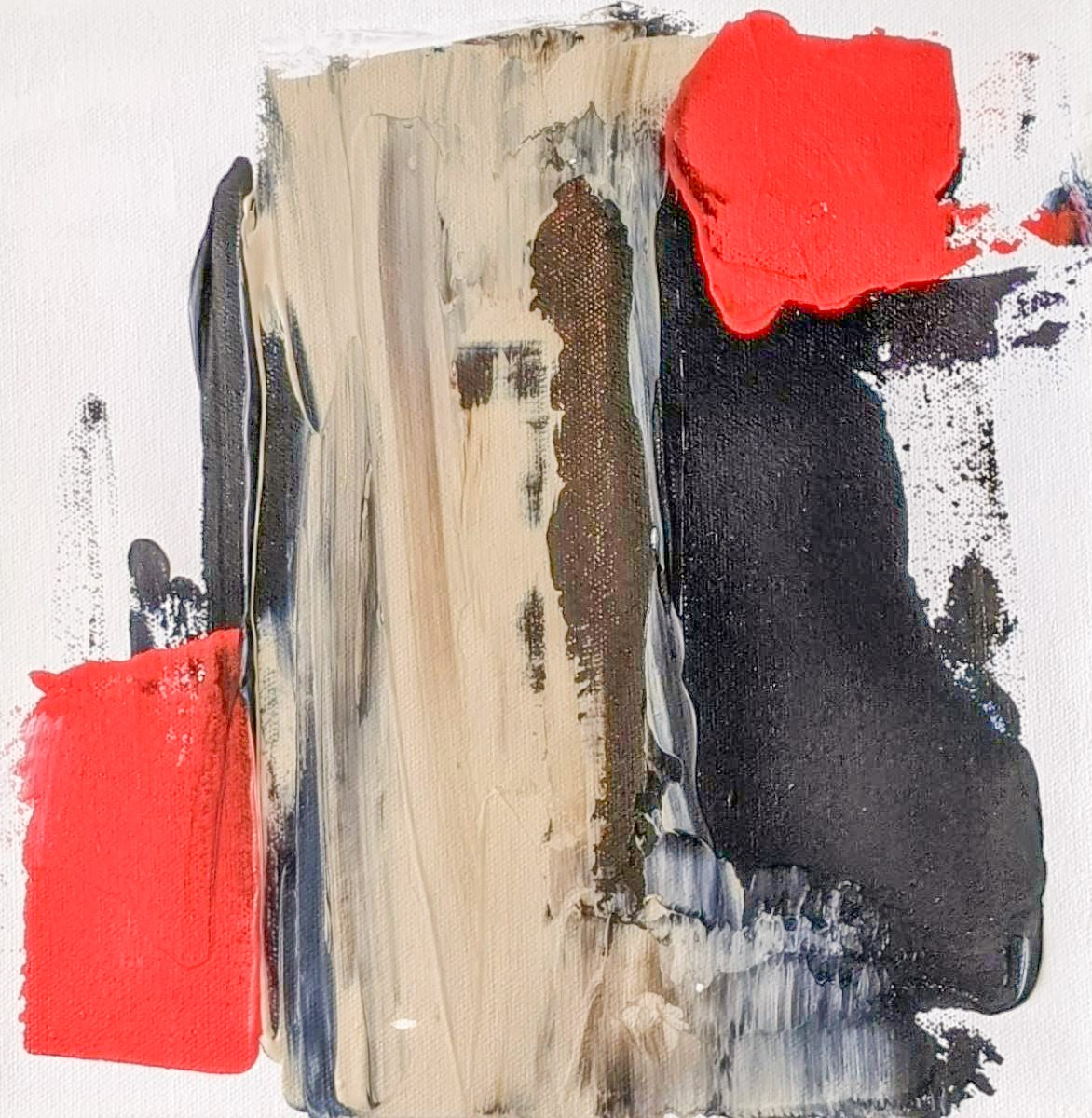 Abstract Art. Title: Composition Ⅲ, acrylic on canvas, 10x10 in by Contemporary Canadian Artist David Hovan.