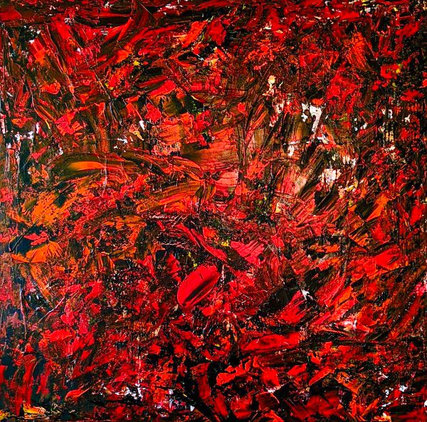 Abstract Art. Title: Forbidden Pleasures, original acrylic on canvas, 36x36 in by Contemporary Canadian Artist David Hovan.