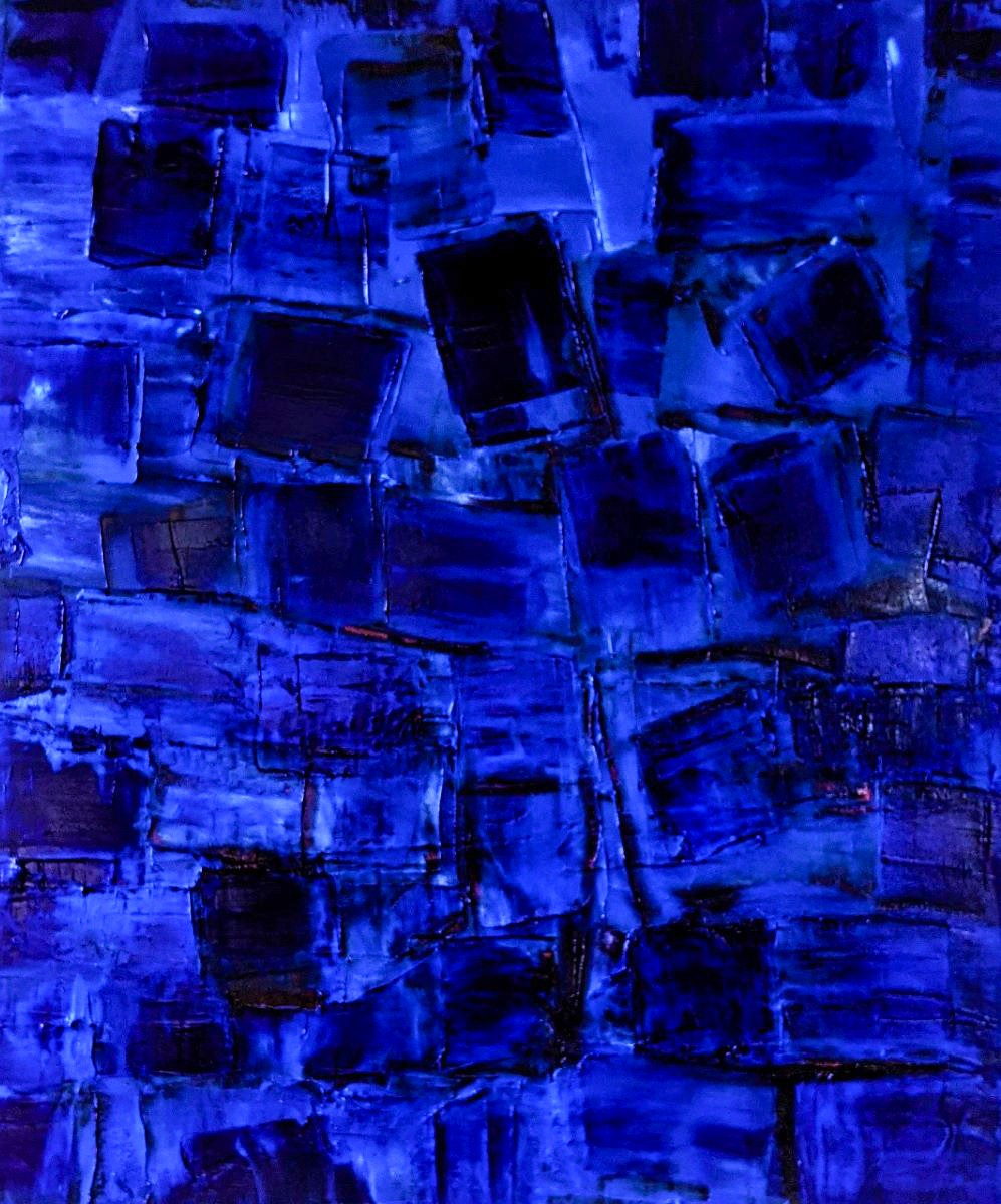 Abstract Art. Title: Indigo, Acrylic 36x30 in by Contemporary Canadian Artist David Hovan.