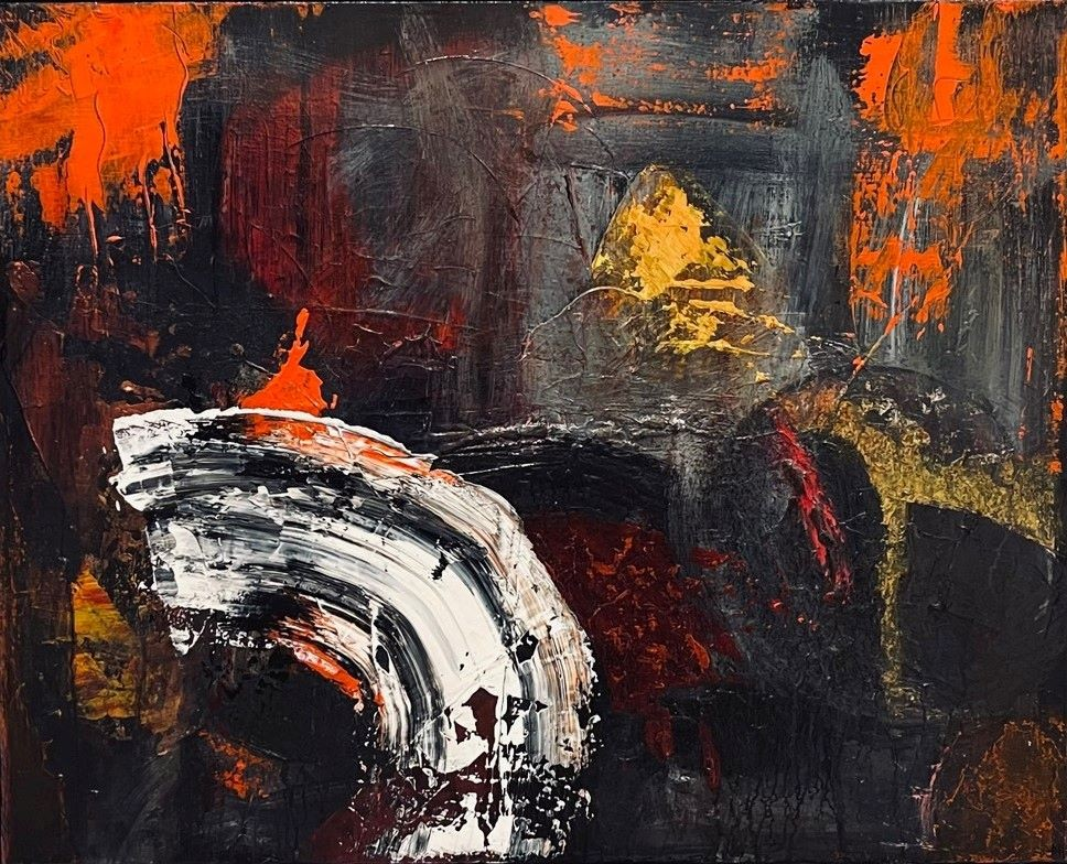 Abstract Art. Title: Kits Storm, Original-acrylic-24x30 in by Contemporary Canadian Artist David Hovan.