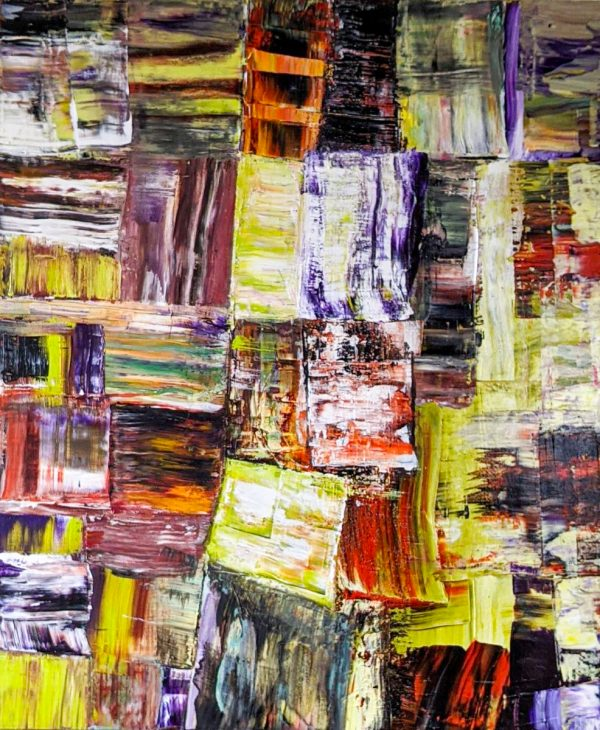 Abstract Art. Title: Recollections Ⅰ, Original acrylic on canvas, 36x30 in by Contemporary Canadian Artist David Hovan.
