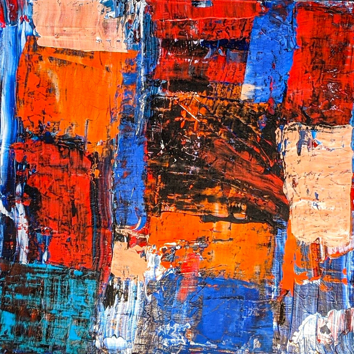 Abstract Art. Title: Recollections Ⅲ, Original Acrylic on canvas, 24x24 in by Contemporary Canadian Artist David Hovan.